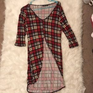 Red Plaid High Low Top